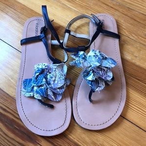 Xhilaration Shoes - Navy sandals with fabric flowers